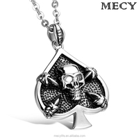 MECY LIFE fashion stainless steel casting heart shaped skull hip hop pendant jewelry