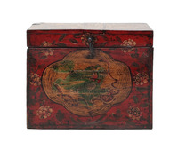 red solid wood small trunk chinese antique box