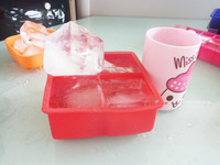 """new design extra large 4 cavity silicone baby frozen food 2.5 inch ice cube mold , 2.5"""" ice mold tray"""