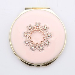 Round Double Compact Purse Makeup Cosmetic Pocket Hand Mirror - Pink Floral HQCM290987