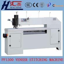 Plywood veneer stitching machine with zigzag veneer jointing