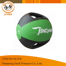 2015 New Custom 4 to 10KG Rubber Medicine Ball With Two Handles in dual colors