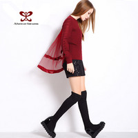 2016 Women Fashion Pullower Sweater Around Collar Long Sleeve Twist Net Yarn Silk Ribbon Splice Ladies Winer Soft Sweater