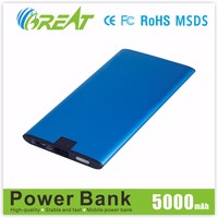 Pocket 2.1A output portable mobile power bank chargers 5000mah with CE FCC ROHS