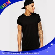Plain Black T Shirts Wholesale Black T-Shirt With Crew Neck In Relaxed Skater Fit And Rolled Sleeve