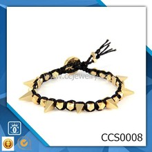 wholesale fashion men's neon satin cord with gold short pyramid spikes woven bracelet jewelry designs