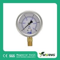 "1 1/2"" filled Bourdon tube pressure gauge for RO system"