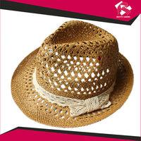 Fashion design ladies 100% paper sun hat fedora straw hat