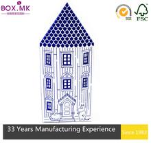Hot Sale Blue House Shape Factory Custom Cardboard Paper Gift Box