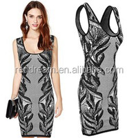 Tight elastic bandage dress with flower printing H1028
