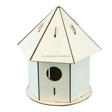 Factory supply wooden crafts small crafts bird house, home decor christmas craft wooden bird house