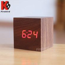 Wholesale low price wood cube retro alarm clock with calendar for elderly people