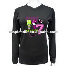 popular design long sleeve women black v-neck t-shirt