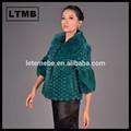 rex manteau de fourrure à court style tourner à col manches moitié de couleur vert taille plus»manteaux 4xl