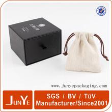 Gift and craft black cotton canvas drawstring bag