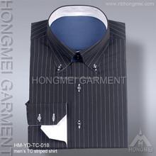 2015 lastest mens long sleeve TC stripe shirt bulk mens formal shirt button down collar