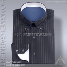 mens long sleeve 65 polyester 35 cotton striped bulk formal shirt with button down collar