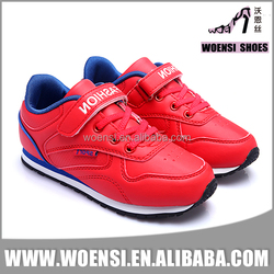 new best selling fashionable young kids red color PU upper comfortable trainer shoes
