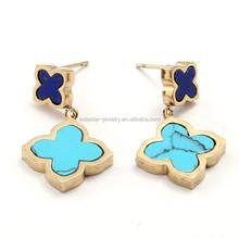 Turquoise stones four clover flower stainless steel fashion earring designs new model earring for women LE2574
