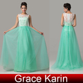 2015 chegada nova rendas de vestidos de noite graça karin mangas verde longa noite vestido de baile CL6108