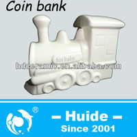 Ceramic train shaped coin boxes Ceramic Money Saving Bank
