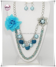 Rhodiumized / Turquoise Fabric & Blue Synthetic Pearl / Lead&nickel Compliant / Multi Row Flower Necklace & Fish Hook Earring Se