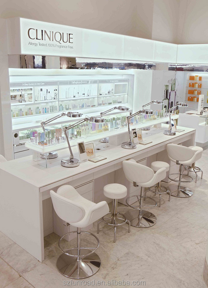 Acrylic And Wood Cosmetic Furniture Display Showcase, Make Up Shop Interior  Design Cosmetic Stand