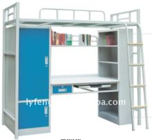 Metal College Student Dormitory Bunk Bed with Desk and Locker