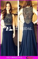 CE1185 Wholesale 2016 A-Line High Neck Beaded Top Navy Chiffon Evening Dress
