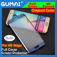 Premium Quality Colorful 9H 3D full curved screen protector for samsung s6 edge Tempered glass front cover blue color