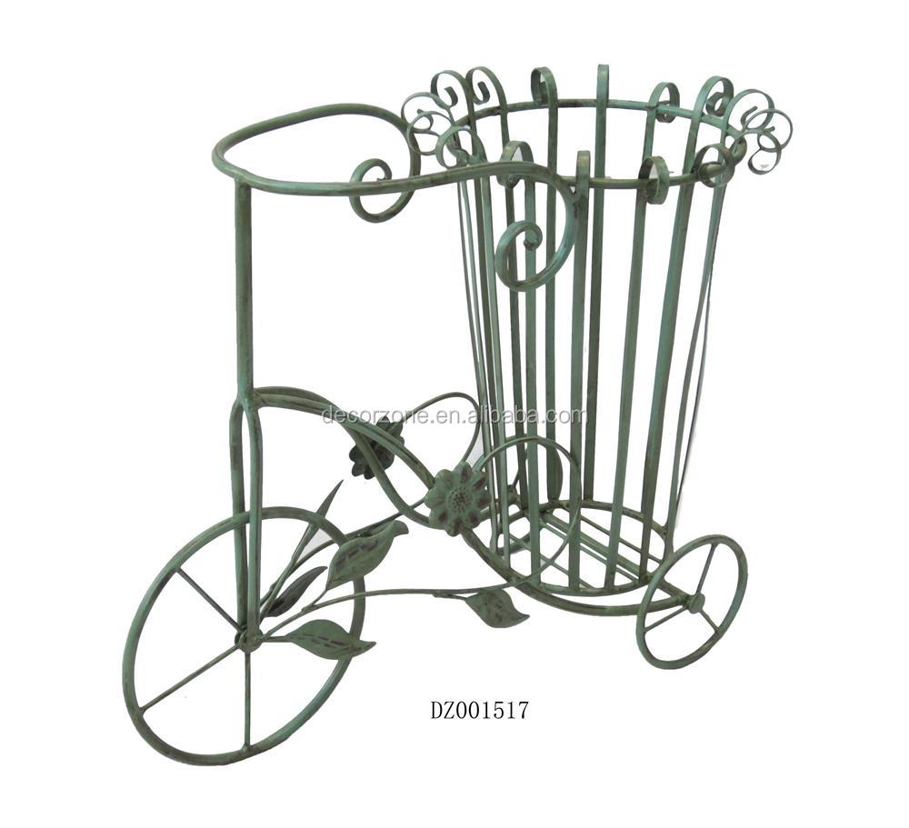 Wrought iron flower pots bicycle plant stand buy bicycle stand flower pots stand bicycle - Bicycle planter stand ...