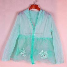 FSF1525 2015 Summer long sleeve hooded sun protection clothing fashion nylon clothing