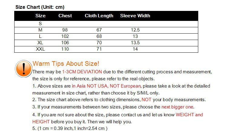 Size Chart for Vest