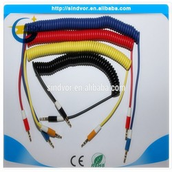 New Arrivel!! Colorful spring car audio sux 3.5mm cable