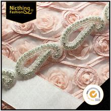 Rhinestone Applique Bridal Accessories Crystal Trim Rhinestone Beaded Applique Wedding Dress Sash Belt Headband DIY