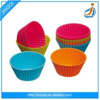 FDA silicone custom colorful round muffin cake mould with OEM 6pcs/set