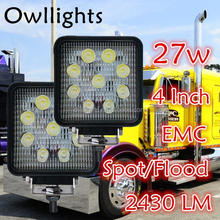 "2016 Wholesale Waterproof IP68 Motorcycle Headlights 5"" Inch Square Off Road 27watt LED Work Lamp Light"