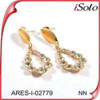 Gold earring jewelry diamond dangler earrings for evening dress