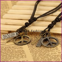 YiWu Factory unique men peace sign pendent genuine leather necklace