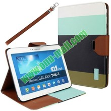 Classical Style 4 Colors Blocking Leather Cover Case for Samsung Galaxy Tab 3 10.1 p5200