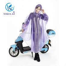 Transparent motorcycle long sexy girls plastic pvc rain coat