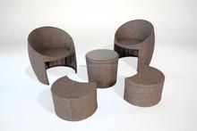 SUNRISE PE Rattan Stool Sofa Set 5P Outdoor Furniture Waterproof CE
