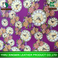 The Clock and Peony printed synthetic PVC leather for girls luggage girls bag shoes