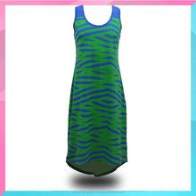 OEM Women Summer Beach Casual Sleeveless Striped Dress