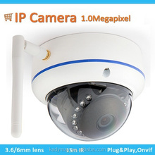 Home security,H.264 Wifi vandalproof 1.0Megapixel CMOS IR Dome ip camera,Support CMS/Mobile view