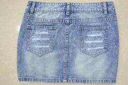 Trendy Denim Short Skirts Destroy Wash Denim Skirts Factory