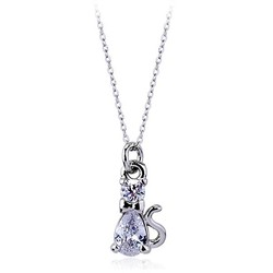 Lovely Cat Necklace Pet Jewelry 18K Real White Gold Plated Cubic Zirconia Fashion Trendy Animal Pendant Necklace For Women