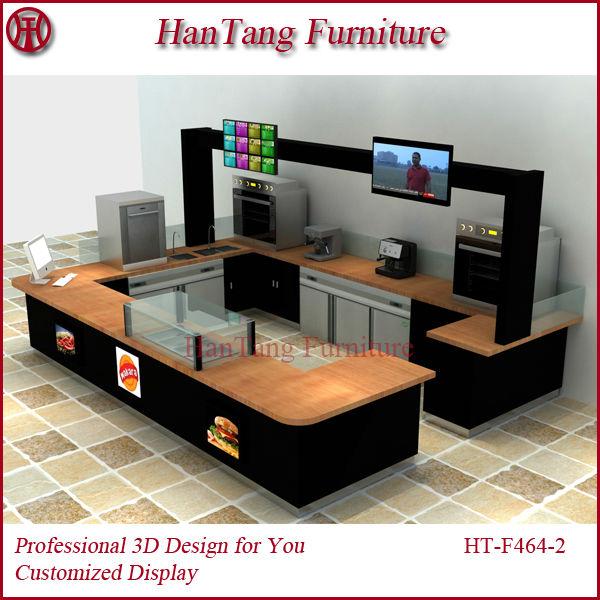 Attractive new design wooden indoor mall fast food kiosk for Indoor food kiosk design