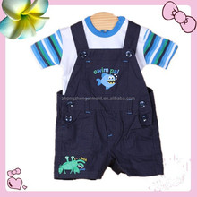 baby set clothes Sling strap trousers baby romper one set 100% cotton stock apparel for 3M-6M
