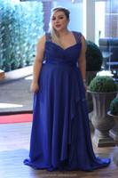 JME0019 sleeveless ruched bodice keyhole lace back royal blues chiffon high slit plus size evening dress